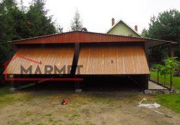 Garaż blaszany 6×6 m + dwie bramy + 1m zadaszenie