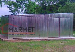 Garaż blaszany 8×7 m – spad na bok (lewa strona)