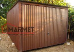 Garaż blaszany 3×5 m – gruby mat brąz
