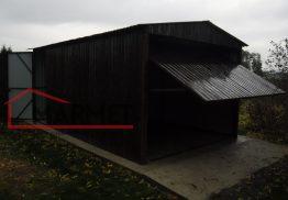 Garaż blaszany 3×5 m + dach dwuspadowy