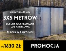 Garaż blaszany – 3×5 m – od 1630 zł – 2 gat. blachy