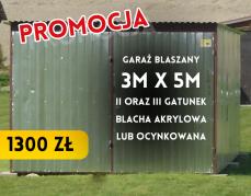Garaż blaszany II i III gatunek – 3×5 m – 1300 zł