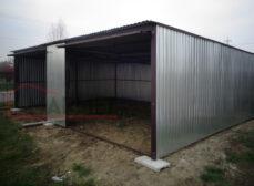Podwójny garaż blaszany – bramy uchylne