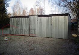 Podwójny garaż blaszany – dwie bramy