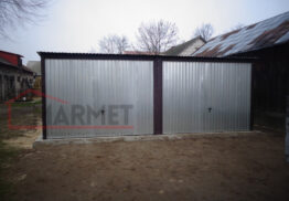 Garaż blaszany ocynkowany + 2 bramy uchylne